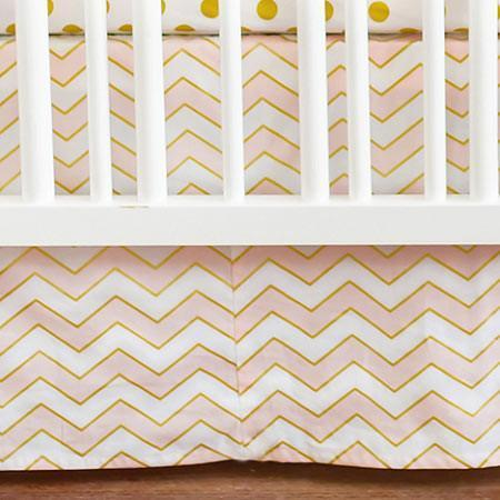 Crib Skirt | Gold Rush in Pink-Crib Skirt-Jack and Jill Boutique
