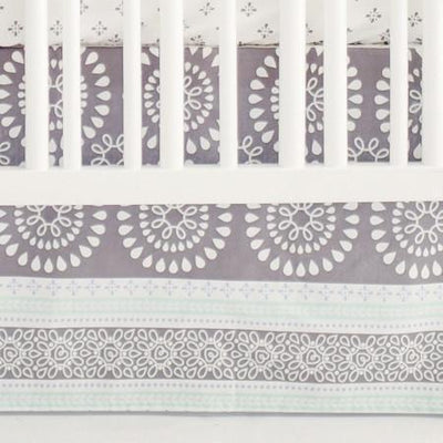 Crib Skirt | Gray & Aqua Harper in Aqua-Crib Skirt-Jack and Jill Boutique