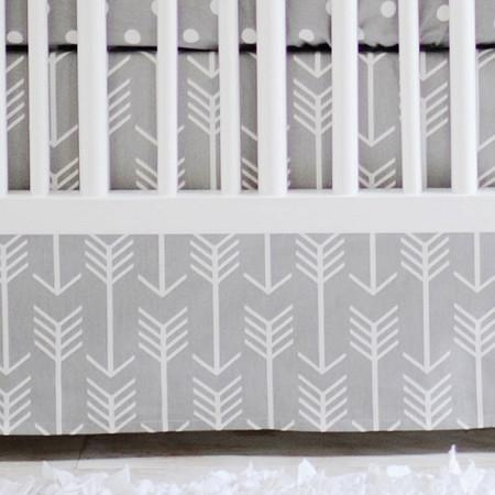 Crib Skirt | Gray Arrow Wanderlust in Gray-Crib Skirt-3 Sided-Jack and Jill Boutique