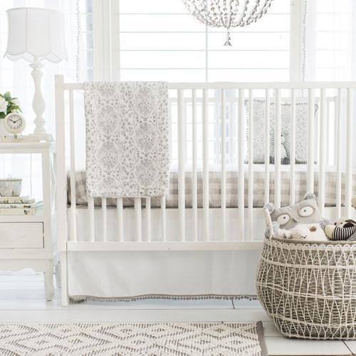 Crib Skirt | Gray Bunny Love-Crib Skirt-Jack and Jill Boutique