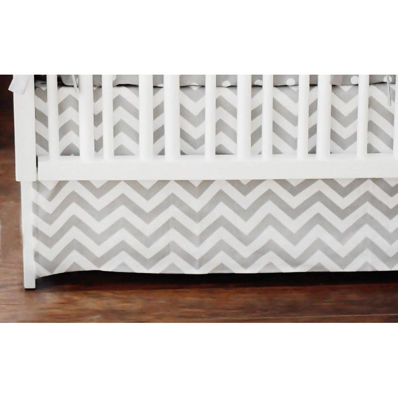 Crib Skirt | Gray Chevron Zig Zag Baby-Crib Skirt-Jack and Jill Boutique