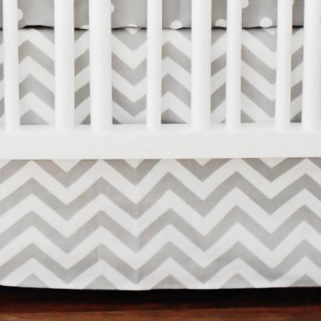 Crib Skirt-Jack and Jill Boutique-Crib Skirt | Gray Chevron Zig Zag Baby