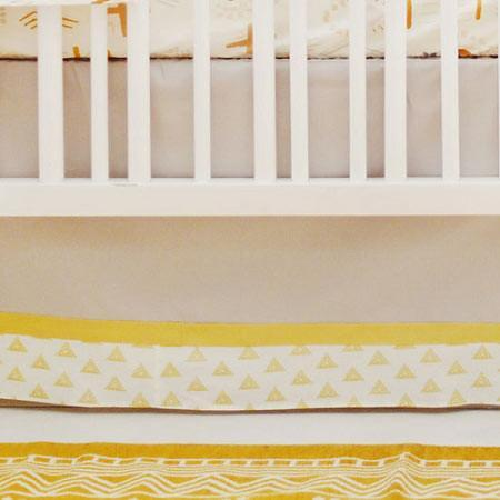 Crib Skirt | Gray & Gold Tribal Head West-Crib Skirt-Default-Jack and Jill Boutique