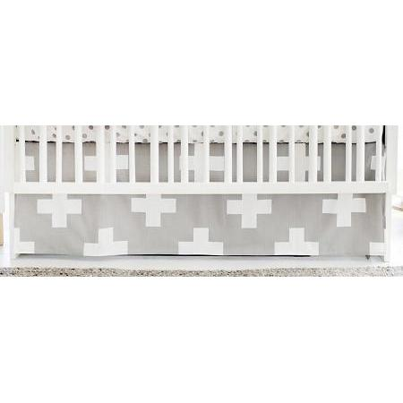 Crib Skirt | Gray Swiss Cross-Crib Skirt-Jack and Jill Boutique