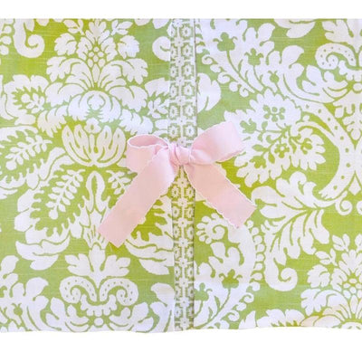 Crib Skirt-Jack and Jill Boutique-Crib Skirt | Green Damask Bloom in Apple
