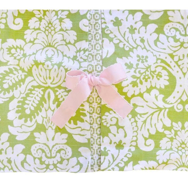 Crib skirt green damask bloom in apple jack and jill for Furniture 888 formerly green apple