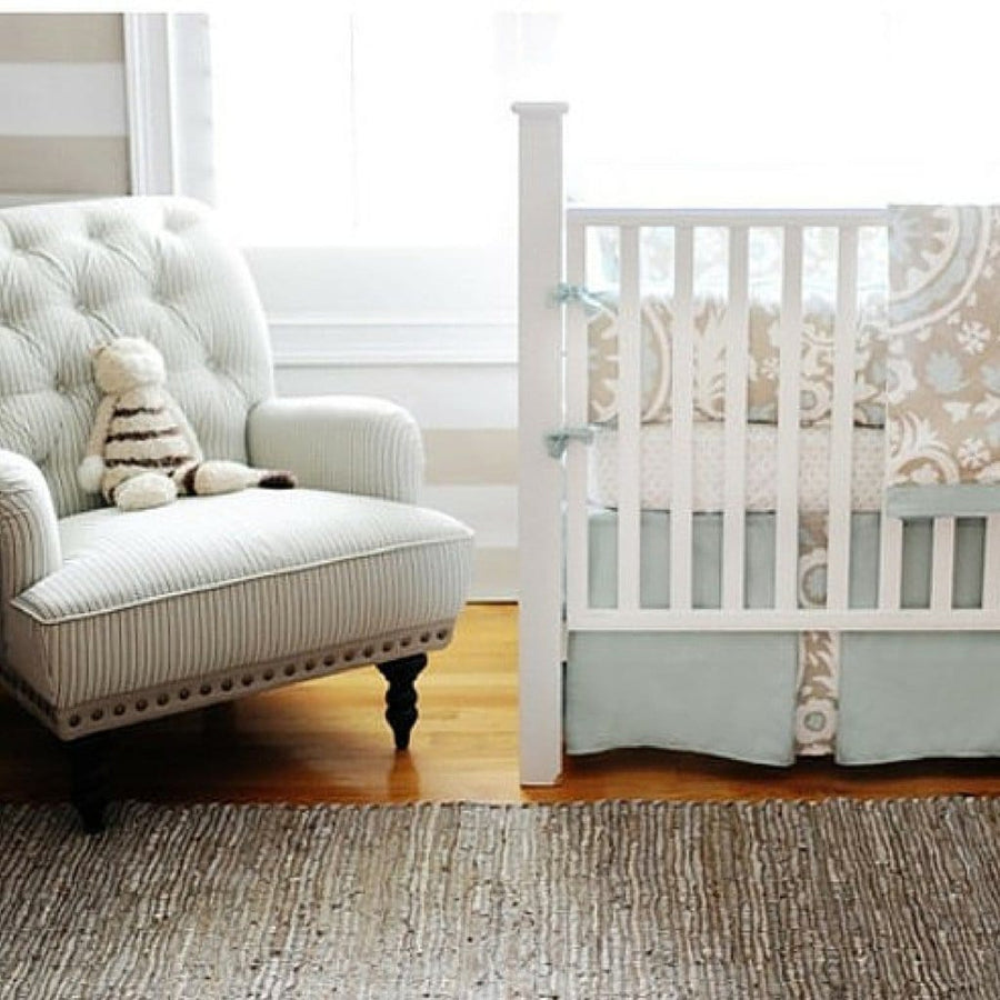 Crib Skirt | Khaki & Aqua Suzani Picket Fence-Crib Skirt-Jack and Jill Boutique