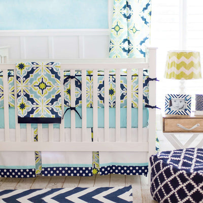 Crib Skirt | Lime Green & Navy Starburst in Kiwi-Crib Skirt-Jack and Jill Boutique