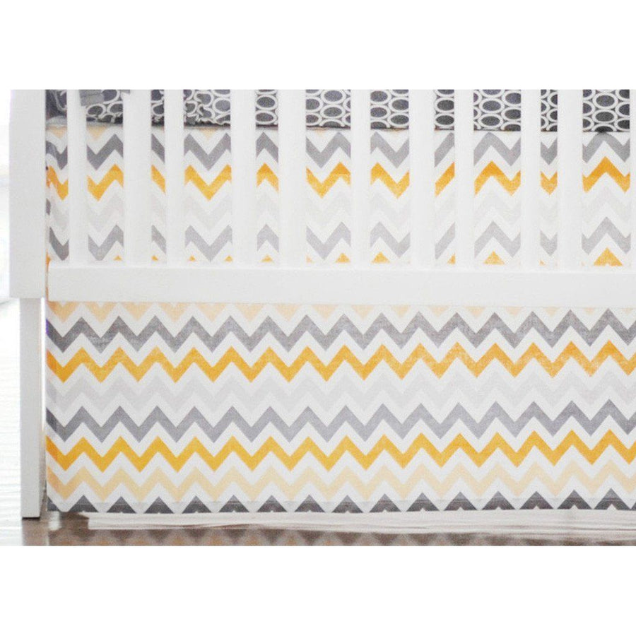 Crib Skirt | Mellow Yellow Yellow and Grey-Crib Skirt-Jack and Jill Boutique