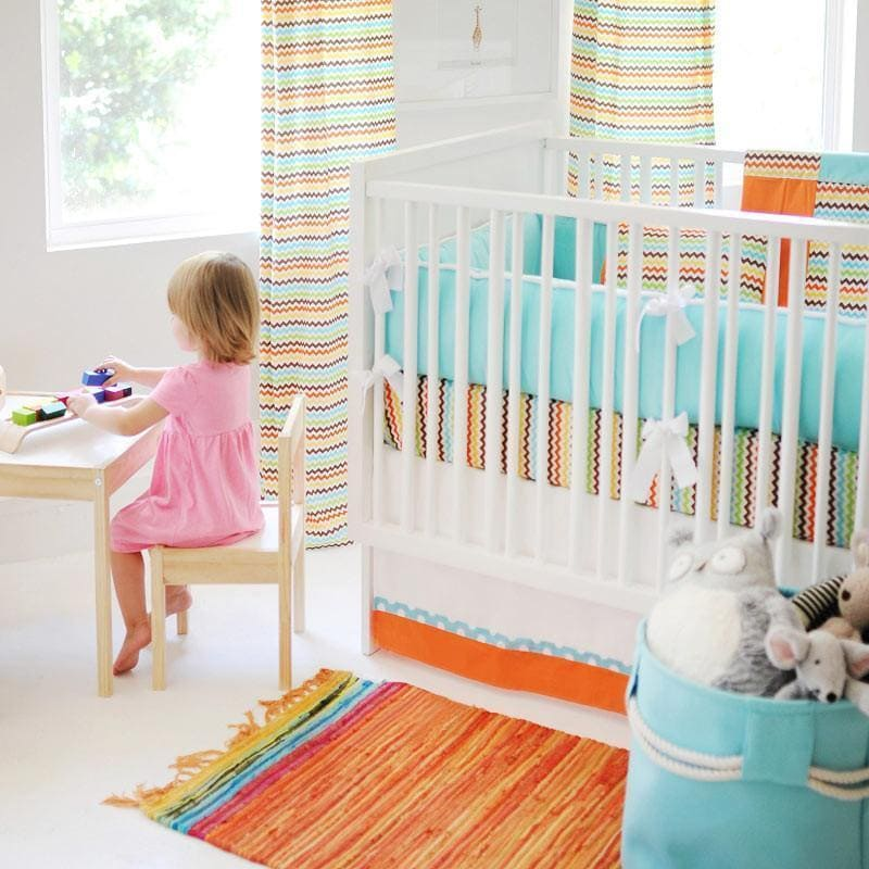Crib Skirt | Orange & White Multi Chevron Sante Fe-Crib Skirt-Jack and Jill Boutique