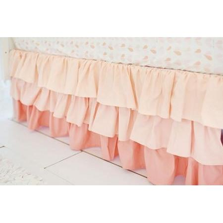 Crib Skirt | Peach Ruffled - Summer Grove-Crib Skirt-Jack and Jill Boutique