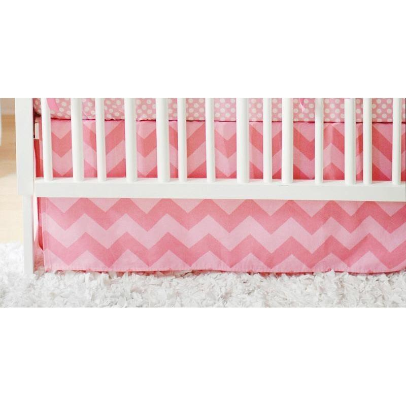 Crib Skirt | Pink Chevron Zig Zag Baby in Pink Sugar-Crib Skirt-Jack and Jill Boutique