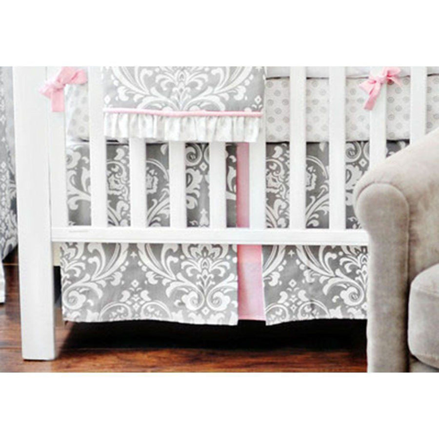 Crib Skirt | Pink & Gray Stella Gray