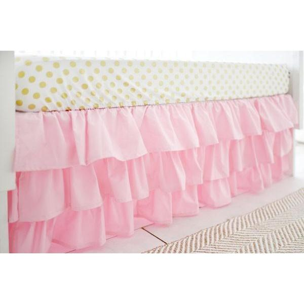 Crib Skirt | Pink Ruffled-Crib Skirt-Jack and Jill Boutique