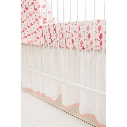Crib Skirt | Pink Urban Flamingo Baby Bedding Set-Crib Skirt-Jack and Jill Boutique