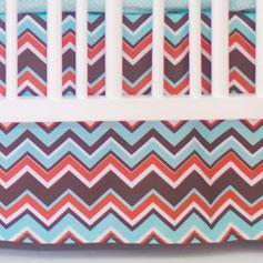 Crib Skirt | Piper in Aqua-Crib Skirt-Jack and Jill Boutique