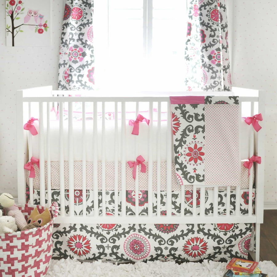 Crib Skirt | Ragamuffin in Pink Pink and Gray