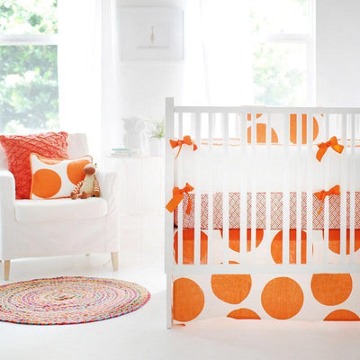 Crib Skirt | Spot On Tangerine-Crib Skirt-Jack and Jill Boutique