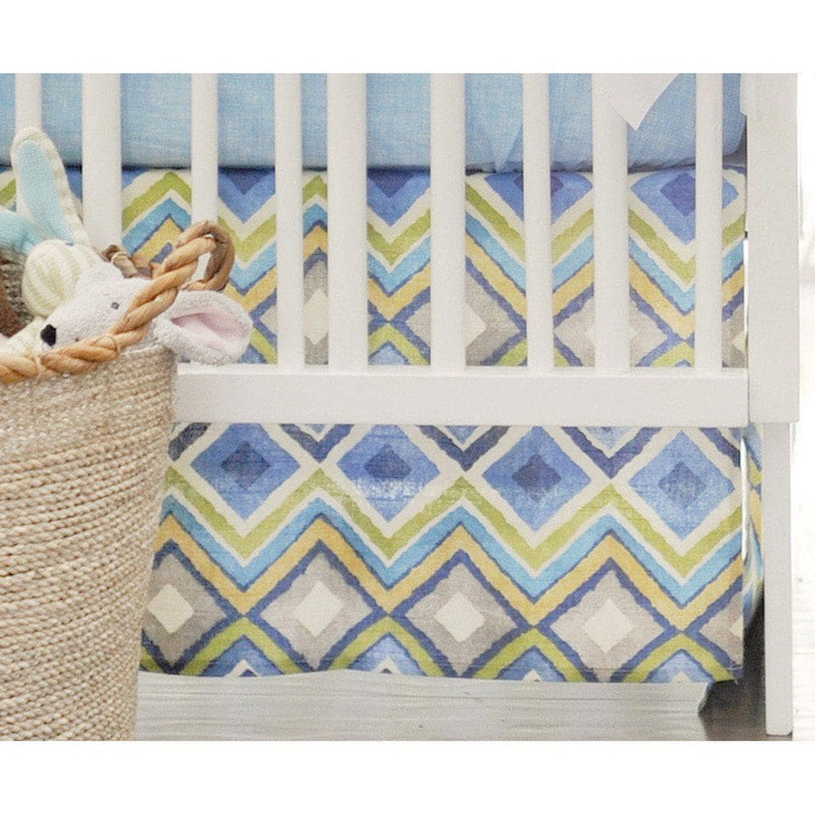 Crib Skirt | Street of Dreams Blue and Yellow-Crib Skirt-Jack and Jill Boutique