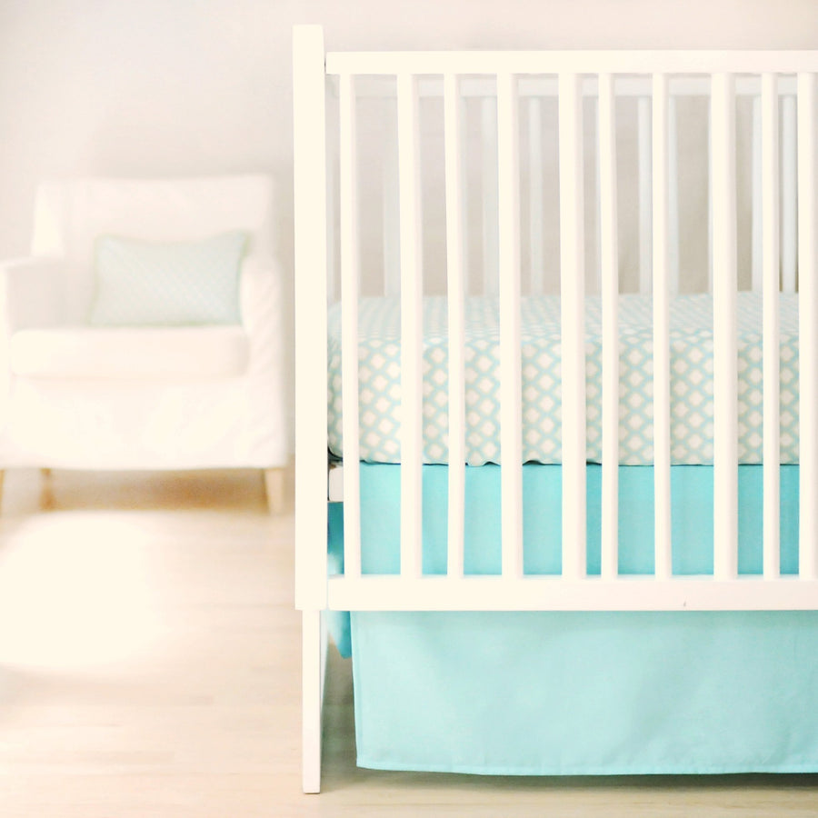 Crib Skirt | Sweet & Simple Aqua-Crib Skirt-Jack and Jill Boutique