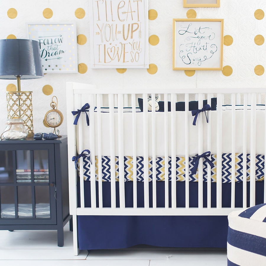 Crib Skirt | Sweet & Simple Seperates - Golden Days in Navy-Crib Skirt-Jack and Jill Boutique