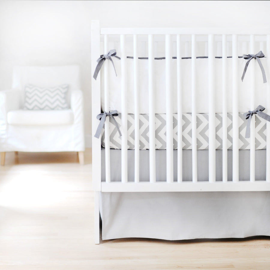 Crib Skirt | Sweet & Simple Seperates - Gray Solid-Crib Skirt-Jack and Jill Boutique