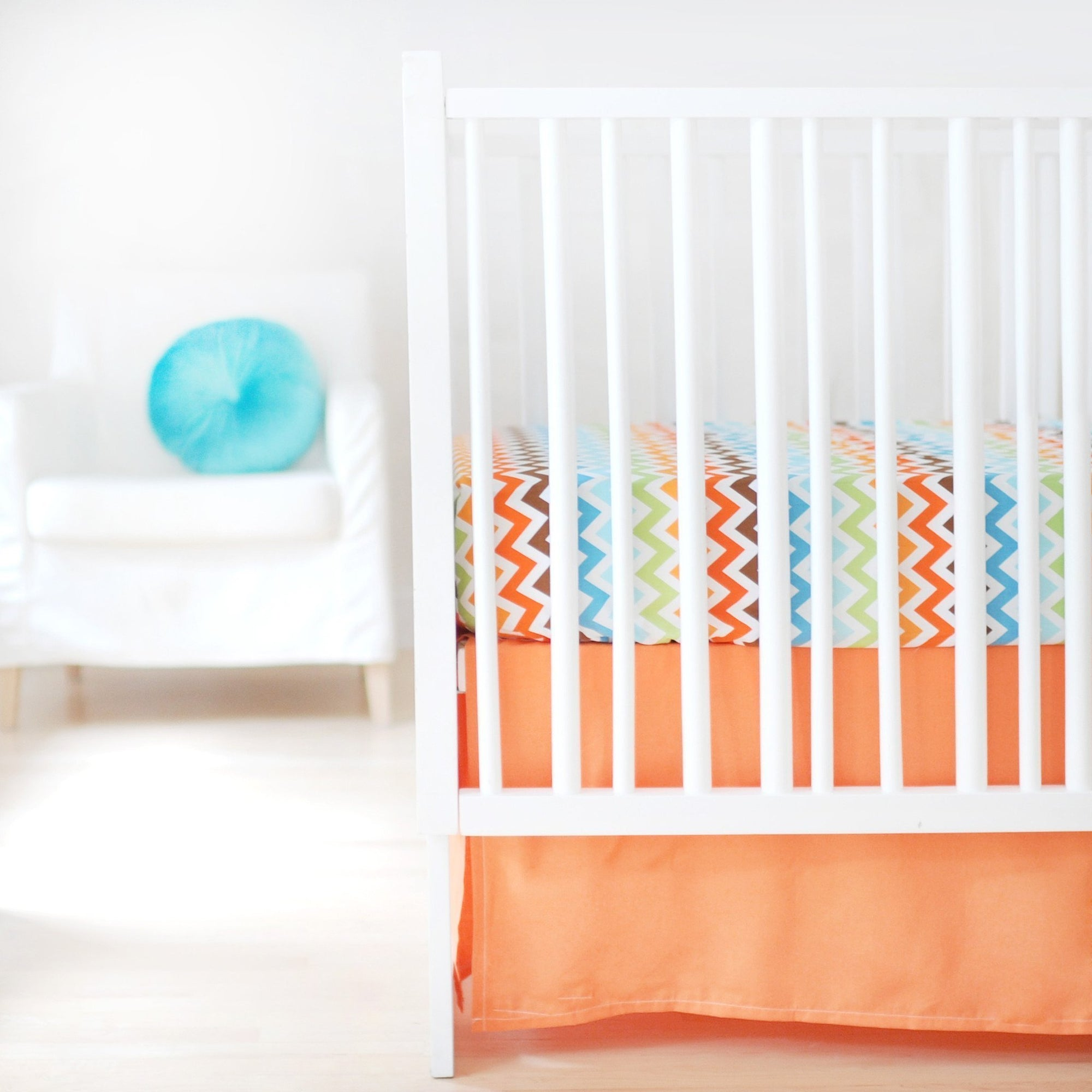 Crib Skirt | Sweet & Simple Seperates - Orange-Crib Skirt-Jack and Jill Boutique