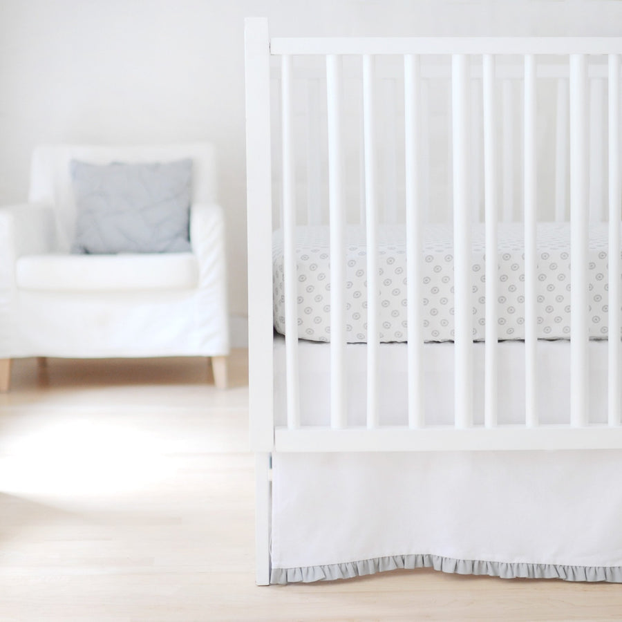 Crib Skirt | Sweet & Simple Seperates - White with Gray-Crib Skirt-Jack and Jill Boutique