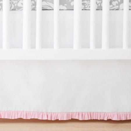 Crib Skirt | Sweet & Simple Seperates - White with Pink-Crib Skirt-Jack and Jill Boutique