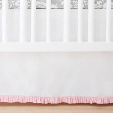 crib skirt sweet u0026 simple seperates white with pink