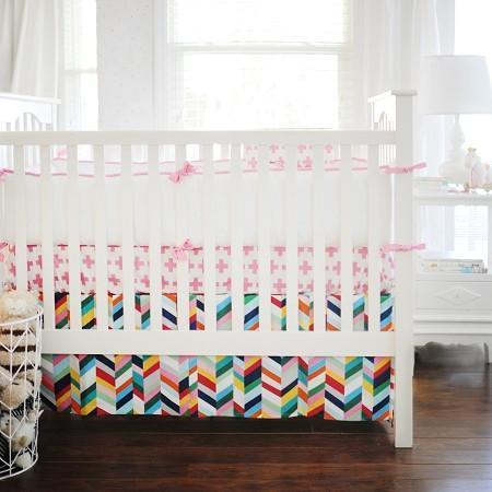 Crib Skirt | Uptown in Electric Hot Pink-Crib Skirt-Jack and Jill Boutique
