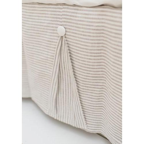Crib Skirt | Washed Linen in Ecru Stripe Baby Bedding Set