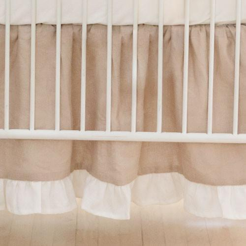 Crib Skirt | Washed Linen in Natural-Crib Skirt-Jack and Jill Boutique