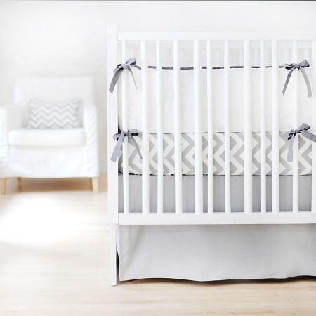 Crib Skirt | White & Gray Sweet & Simple