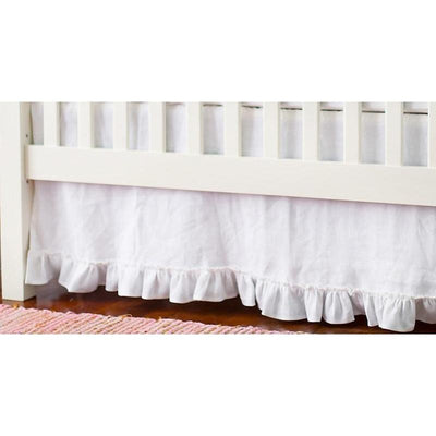 Crib Skirt | White Linen Madison Avenue-Crib Skirt-Jack and Jill Boutique
