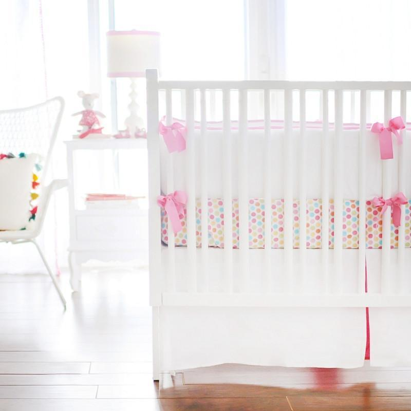 Crib Skirt | White Pique in Hot Pink-Crib Skirt-Jack and Jill Boutique