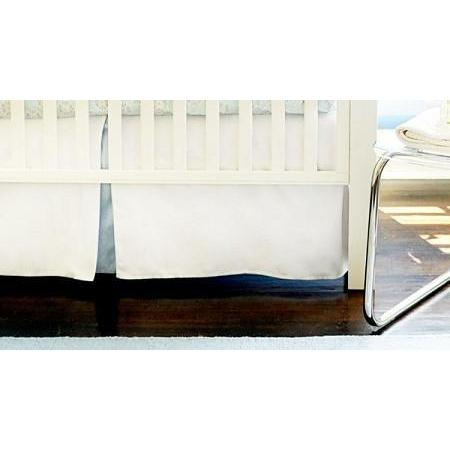Crib Skirt | White Pique with Blue Trim-Crib Skirt-Jack and Jill Boutique