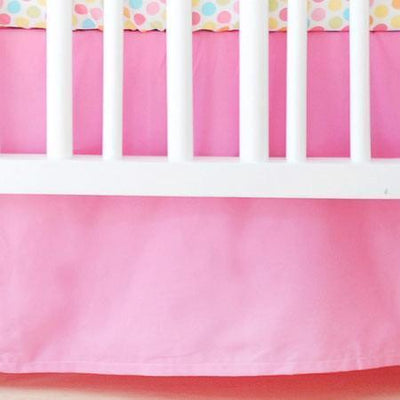 Crib Skirt | White Pique with Hot Pink Trim Crib Baby Bedding Set-Crib Skirt-Jack and Jill Boutique