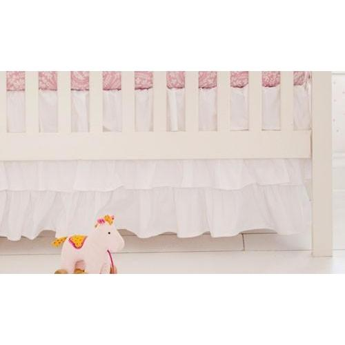 Crib Skirt | White Ruffled 3 tier Waterfall-Crib Skirt-Jack and Jill Boutique