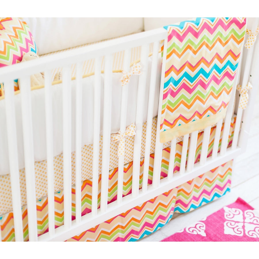 Crib Skirt | Yellow & Pink Chevron Sunnyside Up
