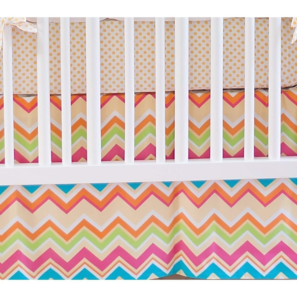 Crib Skirt | Yellow & Pink Chevron Sunnyside Up-Crib Skirt-New Arrivals-Jack and Jill Boutique