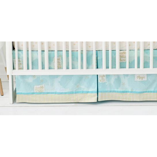 Crib Skirt | You Are Magic in Aqua-Crib Skirt-Jack and Jill Boutique