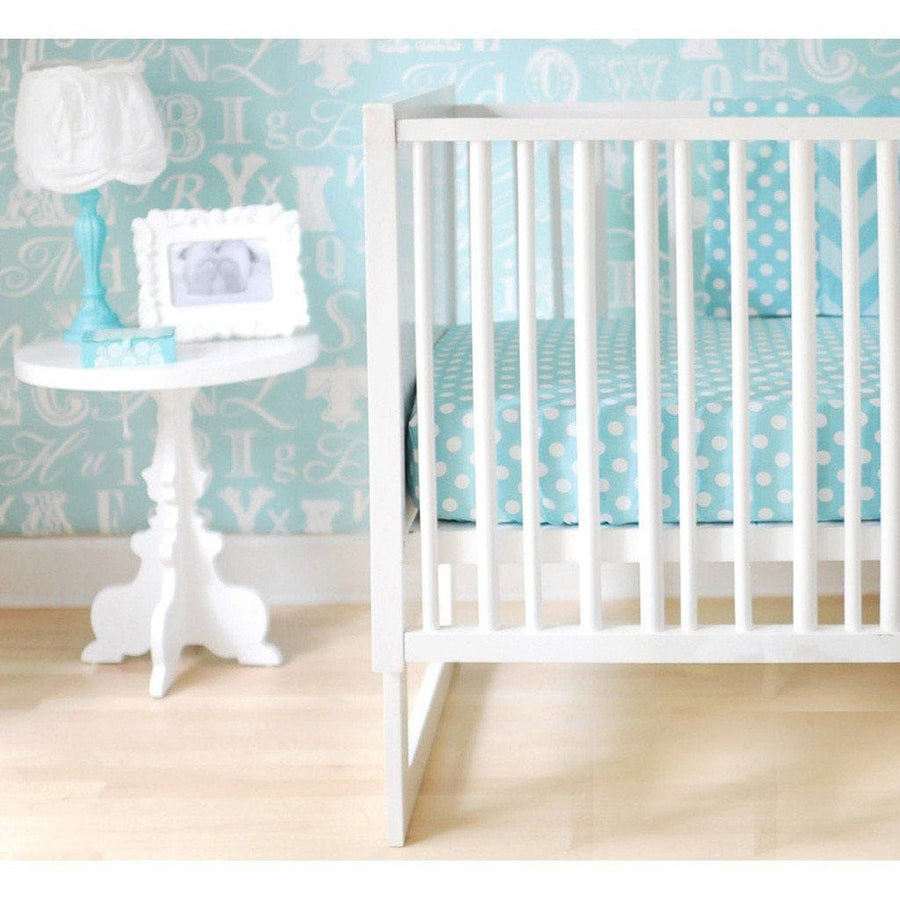 Crib Skirt | Zig Zag Baby in Aqua