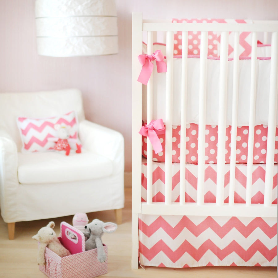 Crib Skirt | Zig Zag Baby in Hot Pink
