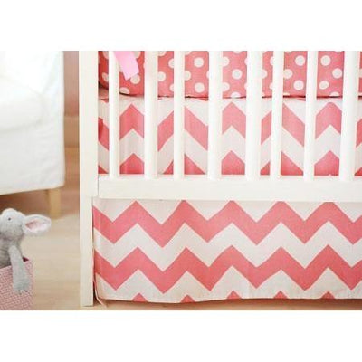Crib Skirt | Zig Zag Baby in Hot Pink-Crib Skirt-Jack and Jill Boutique