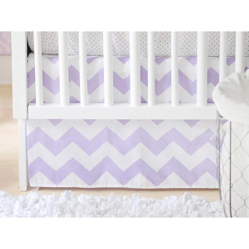 Crib Skirt | Zig Zag Baby in Lavender-Crib Skirt-Jack and Jill Boutique