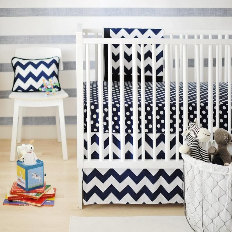 Crib Skirt | Zig Zag Baby in Navy-Crib Skirt-Jack and Jill Boutique