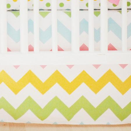 Crib Skirt | Zig Zag Baby in Rainbow