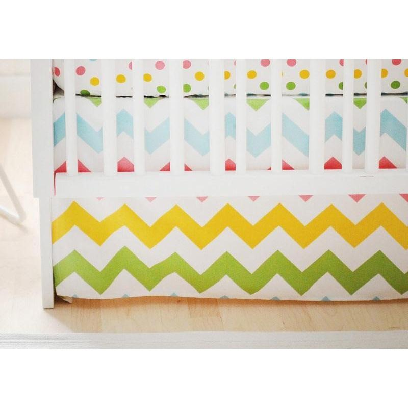 Crib Skirt | Zig Zag Baby in Rainbow-Crib Skirt-Jack and Jill Boutique