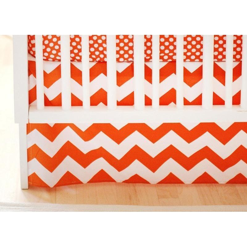 Crib Skirt | Zig Zag Baby in Tangerine